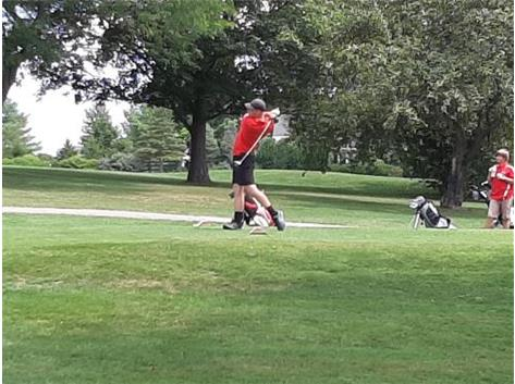 Ryan smashing a great drive at Mill Creek golf club at North Union Invite