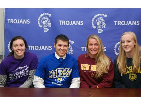 Congratulations, Sarah Costello - University of Indianapolis, Joe Provenzano - McNeese State University, Dale Ryndak - Arizona State, and Katherine Mahlke- University of Michigan - Signing their National Letter of Intent