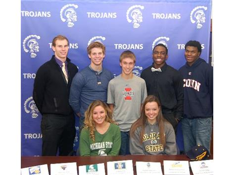 Congratulations to the North Athletes signing National Letter of Intent: Mary Rounce - Michigan State, Gianna Marconi - Colorado State University, Grant Kasal - Western Illinois University, Sean Sandacz - Minnesota State University, Zack Smith - University of Illinois Champaign, Richard Olekanma - University of Toledo, Vontae Diggs - University of Connecticut