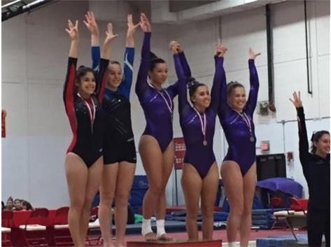 Varsity beam - Madi Johnson - 1st place, Becky Donnelly and Brooke Stocki 4th place tie
