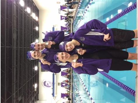 Our 200 Medley Relay qualified for the IHSA STATE MEET! J. Sevcik, L. Benge, E. Benge & E. Roche-1:47.13! We are proud of you!!!