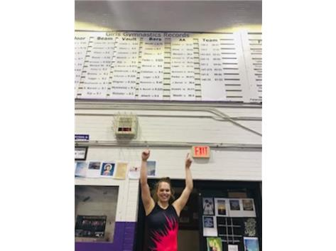 Check it out - Brooke Stocki holds the school record on uneven bars - 9.75