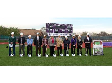 Ground breaking on new turf feild, April 29, 2011