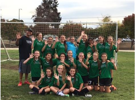 8th Grade Girls Soccer Team celebrates their 5th place finish!!!!