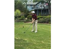 Tyler teeing off at Cameron Park country club