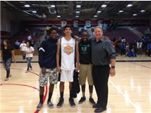 Two of James Meza teammates at the all-star game, Jerromy Harris and Nathan Dennis.  Coach von Pertz on the right.