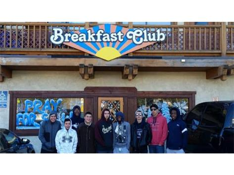 After a big win in last night, the team enjoys breakfast in Mammoth before they ride back home.  Next game is on Tuesday - Quarterfinals of the CIF Playoffs - Go Eagles