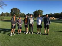 Matt Isaacs, Nick Cook, Matt Horner, Parker Mc Clain, Masato Keeley, and Jack Solava getting ready for Regional Golf Competition.