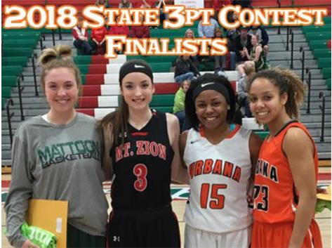 Congratulations to  Senior Lauryn Cross and Sophomore Chian Scott as BOTH girls advanced to the State level 3pt contest round last night in Lincoln.  Lauryn has the best score out of 32 shooters making 11 out of 15 attempts, and Chian finished third making 9 out of 15.   Both will compete next Thursday at Illinois State's Redbird Arena at 5pm – good luck ladies – proud of you!
