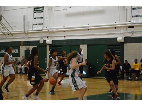 Tashia Jordan leading the fast break.