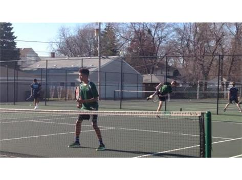 Alex Holliday and Caleb Gard playing doubles