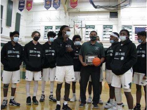 2021 Boys Basketball Team with Coach Lodree