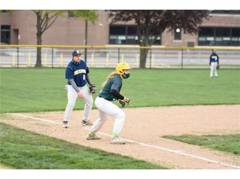 Senior Luke Staerkel leading off 3rd base.