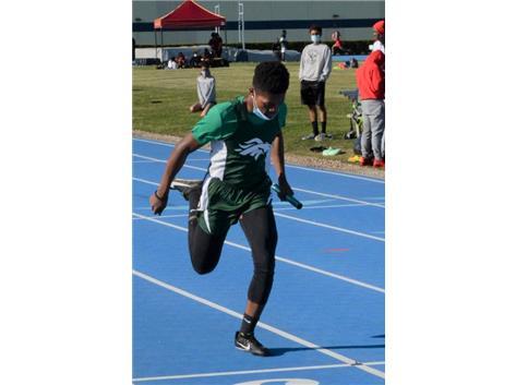 Senior Rashawn Smith at the finish