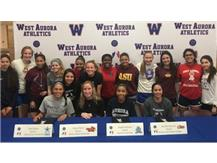 Itzel Ochoa (Dominican), Riley O'Brien (Illinois State), Angela Johnson (Aurora), and Marlene Sanchez (Waubonsee) sign to play Soccer in college!
