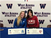Abbey Lieser (Aurora) and Farah Taki (Lewis) sign to play college Volleyball!