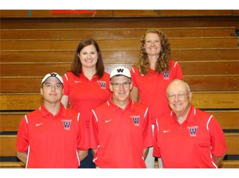 Coaches Lauren Mackey, Emily Stefancic, Jason Kaiser, Bruce Fraser (Head Coach), and Neal Ormond