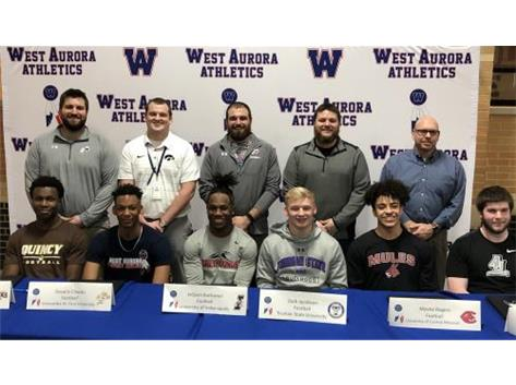 Hezzy Salter (Quincy), Devaris Cheeks (Concordia-St. Paul), JaQuan Buchanan (Indianapolis), Zach Jacobson (Truman St.) Moshe Rogers (Central Missouri), and Ian Mooney (Aurora University) sign to play college footbal