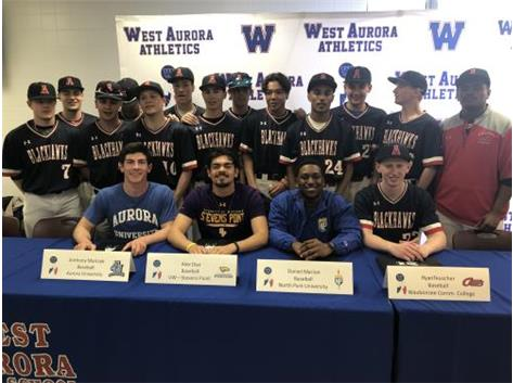 Anthony Malczyk (AU), Alex Diaz (UW-Stevens Point), Daniel Marion (North Park), and Ryan Teuscher (WCC) sign to play college baseball!