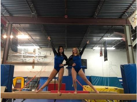 Taft Gymnasts Claire Fritzmann and Jasmine Chavez