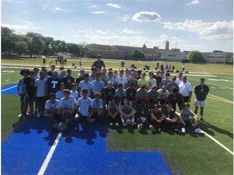 Members of the Taft Varsity and JV teams pose with members of the Plymouth (MI)  Varsity and JV teams after a day of scrimmages at the new Taft Soccer Complex.