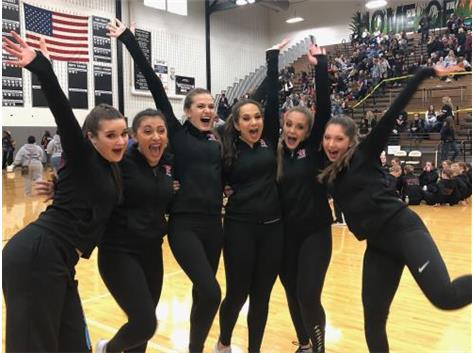 YHS Pom team competing at the IHSA State Competition