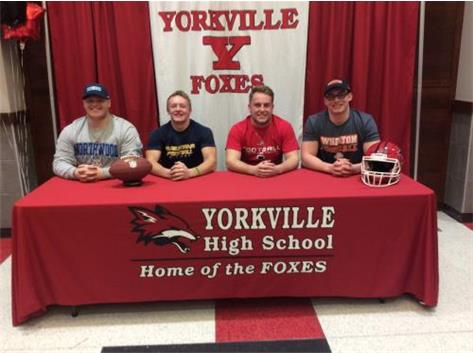 Josh Schroeder, Jacob Brooks, Cade Henry, and Phil LoChirco sign to play college football.