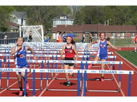 Kendall and Cassie hurdling