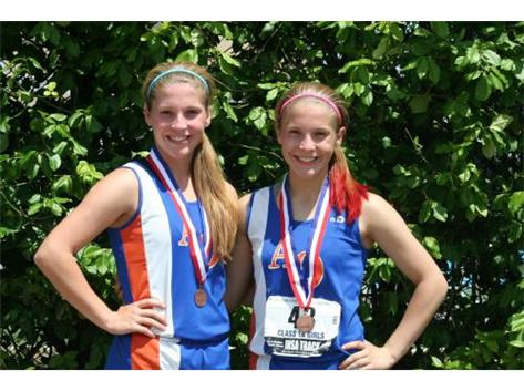 Cassie & Maddie with 8th place medals
