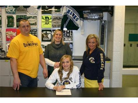 Natalia signs her national letter of intent to compete in Girls Soccer at Quinnipiac University