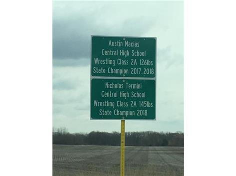 The signs for our State Champs are in at the round about at Burlington Road and Route 47 north of the round-about.