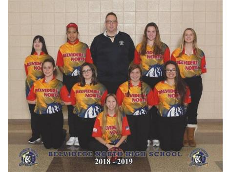 Top Row Left to right: Lauren Schaefer, Chelsey Recendez, Coach Andrew (AJ) Jensen, Rachel Nelson and Emily Fluery Lower Row Left to Right: Camille Spencer, Cailyn Kottman, Raquele Decker, Jessica Schardl and Kalaya Smelter