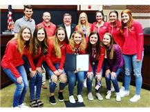 Chris Pecak, Mayor of Lisle, honors Benet Girls Volleyball Team on their 3rd Place Finish at the Class 4A State Championships.