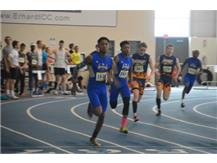 Frank Massey and Amitai Wheat in the 400m dash at Grand Valley State University