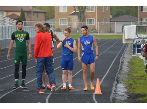 This was the start of the 3200 m run at the SAC Championships 2017, Logan Wetzel and Julian Garcia.