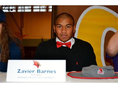 Zavier Barnes signs Letter of Intent to play Football at Saginaw Valley State