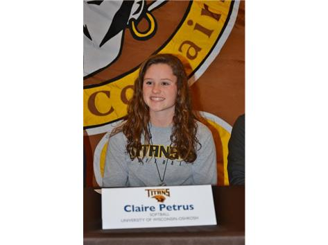 Claire Petrus signs Letter of Intent to play Softball at UW Oshkosh