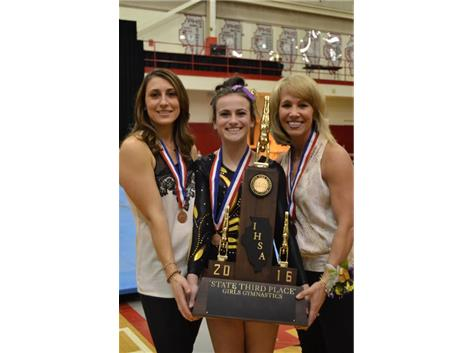 State Finalist Sammi Lococo and Coach Stroup & Mikrut Doyle - 3rd Place State - Gymnastics