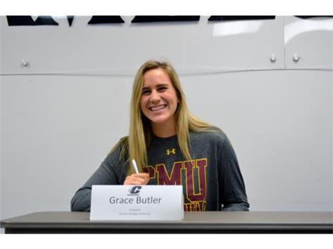 Grace Butler signing LOI to play volleyball at CMU!