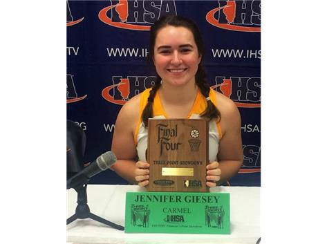 Congratulations to Senior Jen Giesey 2nd place IHSA 3Pt Shooting contest