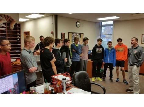 AD gives the boys a pep talk before they head to State XC Meet
