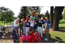 Team bonding in pajamas!