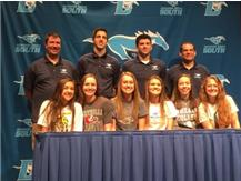 2016 All Signing Day ~ L/R Natalia Pinto (Augustana College), Lexi Dimovski (Maryville University), Sydney Clements (UW-Whitewater), Meghan Riordan (UW-Whitewater), Autumn Rasmussen (Wheaton College), Hannah Rossi (Augustana College)