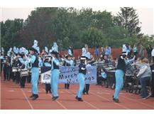 MARCHING MUSTANGS LEADING IN THE FOOTBALL TEAM VS. PROVISO EAST--GOTTA LOVE THAT BAND!
