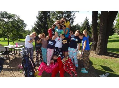 Team bonding in pajamas!