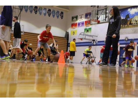 Coach Long leading youth ball-handling drills