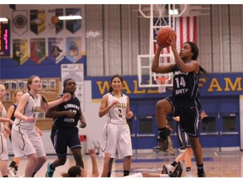 Vashae Easley high-stepping to the hoop