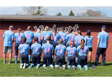 Varsity Softball participating in Strikeout Cancer Dedication at Lockport 2016