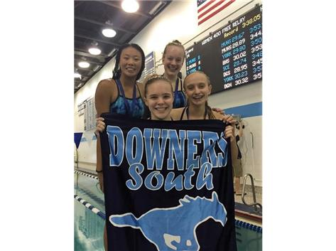 DGS Invite - Annie, Anna, Emma and Jorie-2nd Place 400 Yard Freestyle Relay