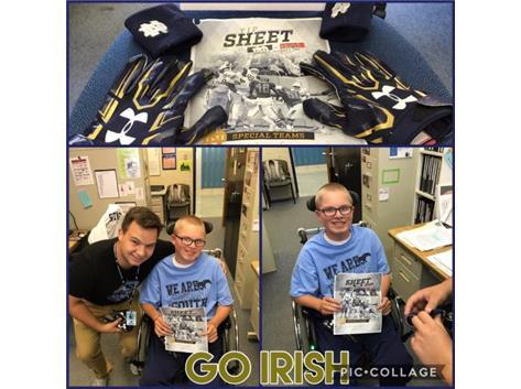 Mr. Raddatz makes Irish fan Patrick's day thanks to #82 Nic Weishar
